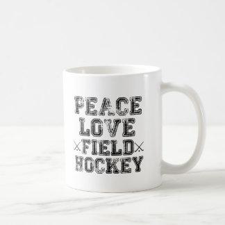 Paz, amor, hockey hierba taza de café