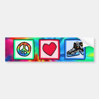 Paz, amor, hockey pegatina para auto