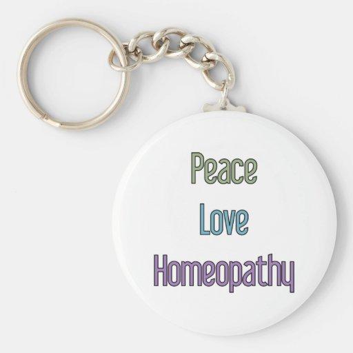 Paz, amor, homeopatía llavero redondo tipo pin