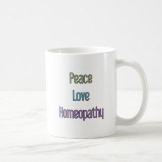 Paz, amor, homeopatía taza