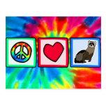 Paz, amor, hurónes tarjeta postal