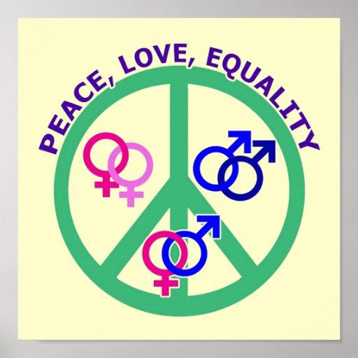 paz, amor, igualdad póster