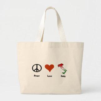 Paz, amor, Italia Bolsa Tela Grande
