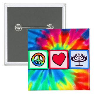 Paz, amor, Jánuca Pin Cuadrada 5 Cm
