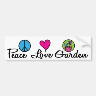 Paz. Amor. Jardín Pegatina De Parachoque