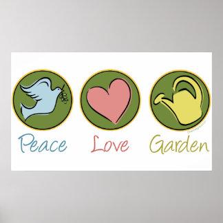 Paz amor jardín poster