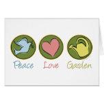 Paz, amor, jardín tarjeta