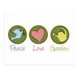 Paz, amor, jardín tarjeta postal
