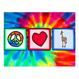 Paz, amor, jirafas tarjeta postal
