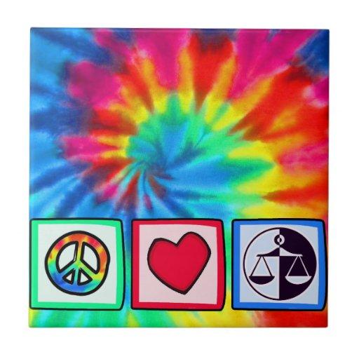 Paz, amor, justicia azulejos ceramicos