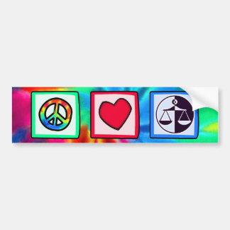 Paz amor justicia etiqueta de parachoque