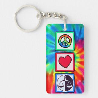 Paz amor justicia llaveros