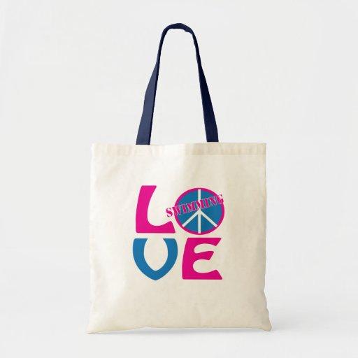 Paz, amor, la bolsa de asas de los chicas que nada