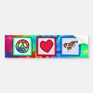 Paz, amor, langostas pegatina para auto