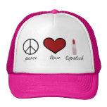 Paz, amor, lápiz labial gorra