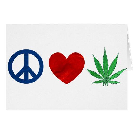 Paz, amor, mala hierba tarjeta