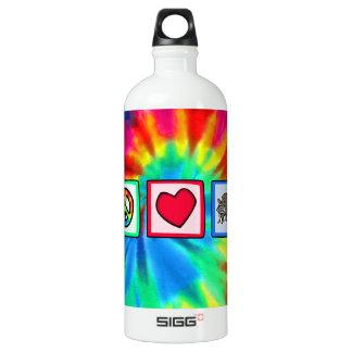 Paz, amor, mapaches botella de agua