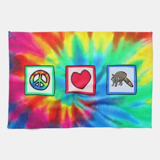 Paz amor mapaches toallas