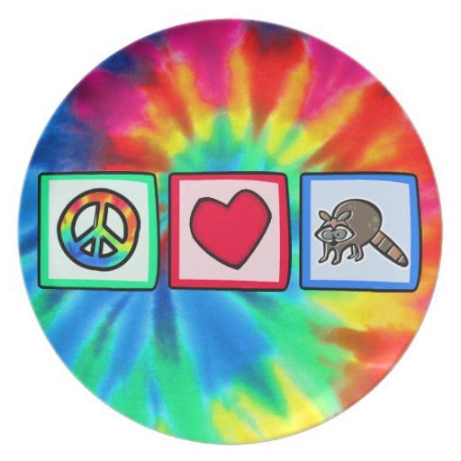 Paz, amor, mapaches platos de comidas