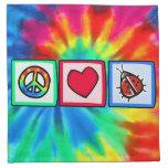 Paz, amor, mariquitas servilletas imprimidas