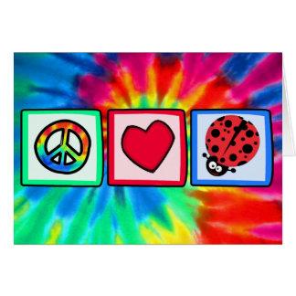 Paz, amor, mariquitas tarjeta de felicitación