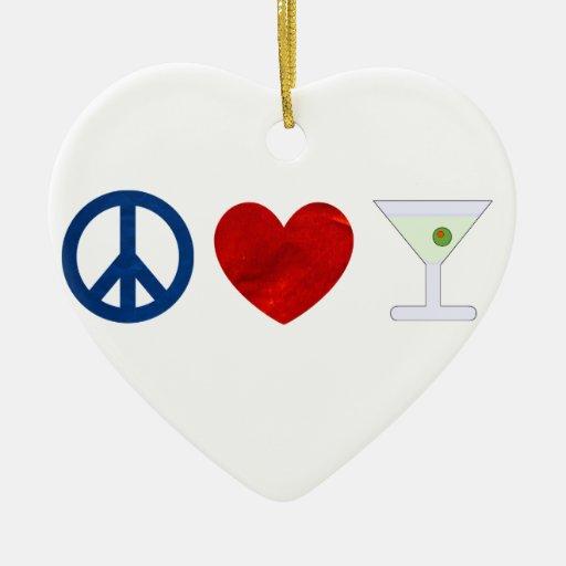 Paz, amor, Martini sucio Adorno De Cerámica En Forma De Corazón