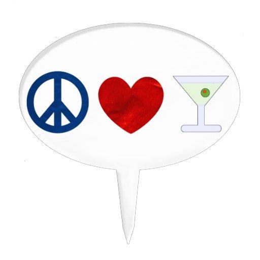 Paz, amor, Martini sucio Figura Para Tarta