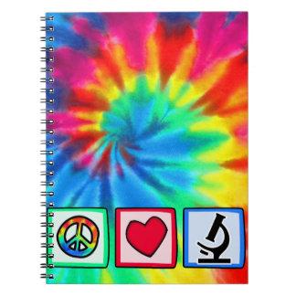 Paz amor microscopios libretas