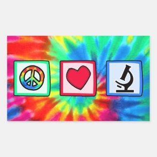 Paz, amor, microscopios rectangular pegatina