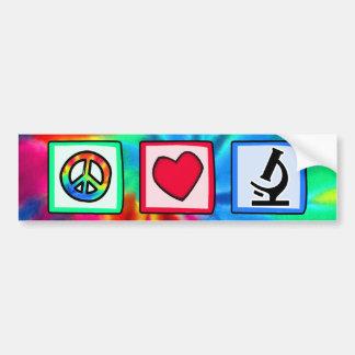 Paz, amor, microscopios pegatina para auto