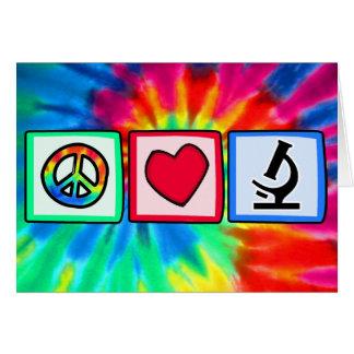 Paz, amor, microscopios tarjeta de felicitación