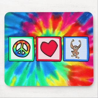 Paz, amor, monos alfombrillas de ratón