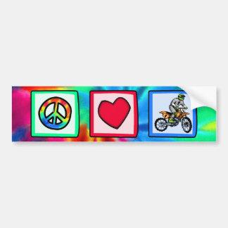 Paz, amor, motocrós pegatina de parachoque