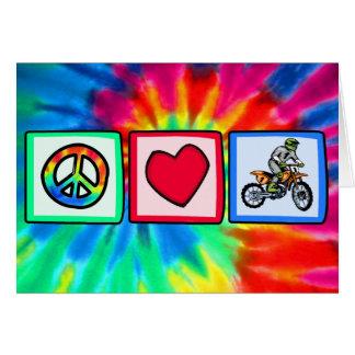 Paz, amor, motocrós tarjeta de felicitación