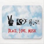 Paz, amor, música alfombrillas de ratón