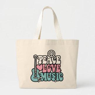 Paz-Amor-Música Bolsa De Tela Grande