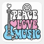 Paz-Amor-Música Calcomania Cuadradas Personalizada