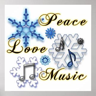 Paz amor música con los copos de nieve poster