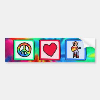 Paz amor música country pegatina de parachoque