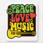Paz-Amor-Música de Rasta Alfombrillas De Raton