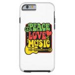 Paz-Amor-Música de Rasta Funda De iPhone 6 Tough