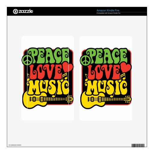 Paz-Amor-Música de Rasta Kindle Fire Pegatina Skin