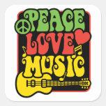 Paz-Amor-Música de Rasta Calcomanía Cuadradas Personalizada