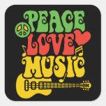 Paz-Amor-Música de Rasta Pegatina Cuadrada