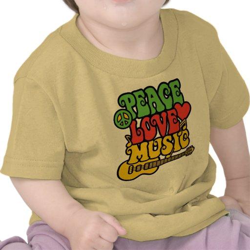 Paz-Amor-Música de Rasta Camisetas