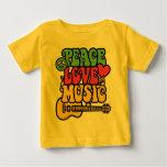 Paz-Amor-Música de Rasta Playera De Bebé