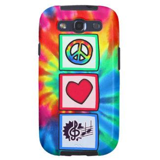 Paz, amor, música galaxy SIII funda