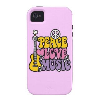 Paz-Amor-Música iPhone 4/4S Carcasas