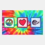 Paz, amor, música pegatina rectangular