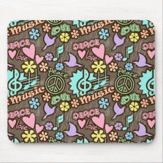 Paz, amor, música alfombrilla de ratón
